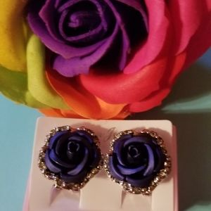 Blue rose earrings silver plated setting